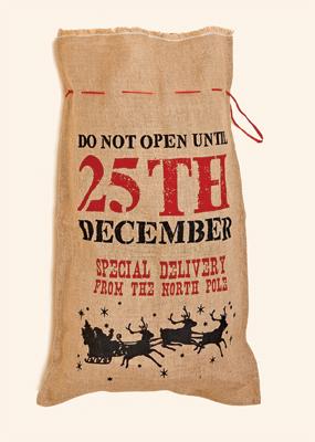 "20"" x 32"" Christmas Burlap Sack w/ 25th December"