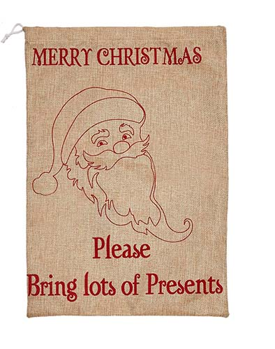 "14"" X 20"" BURLAP CHRISTMAS BAG WITH SANTA"