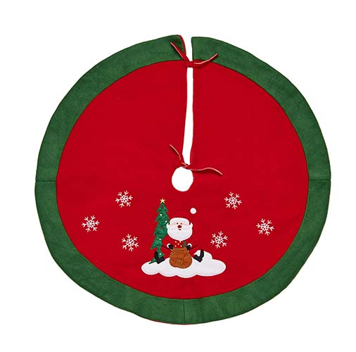 "36"" RED/GREEN FLEECE CHRISTMAS TREE SKIRT"