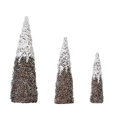 "NESTED SNOW & SILVER GLIT. CONE TREE, 18"", 24"" 32"""