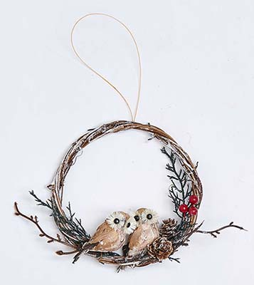 "6"" TWIG WREATH WITH PAIR OF LOVE OWLS ORNAMENT"