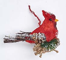 "7""X 5"" CARDINAL ORNAMENT W/PINE NEEDLE"