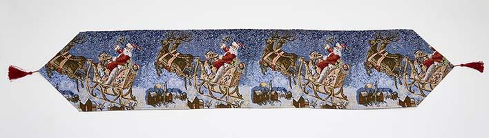 """67"""" Santa Sleigh Tapestry Table Runner"""
