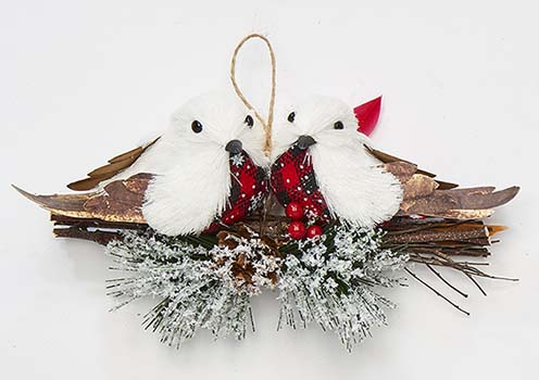 """8"""" White Birds On Branches Ornaments"""
