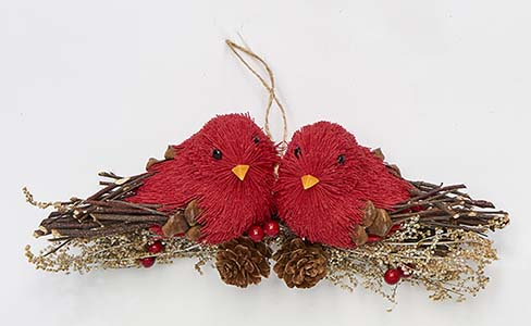 """6"""" Pair Of Cardinals On a Branch Ornament"""