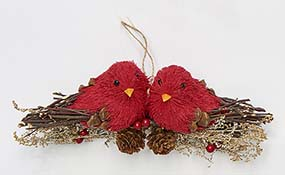 "6"" Pair Of Cardinals On a Branch Ornament"