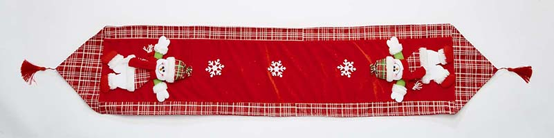 """67"""" Embroidered Red Snowman Table Runner"""
