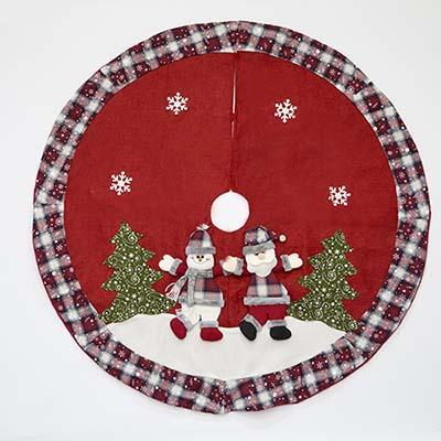 "48"" Snowman & Santa Embroidered Red Christmas Tree Skirt"