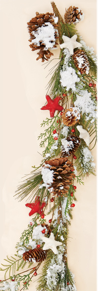 "56"" Snowy Pine Cone & Star Garland"