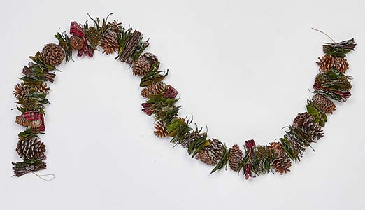 """66"""" MIXED CONES, GREEN BAY LEAF, RIBBON TWIGS BERRIES GARLAND"""