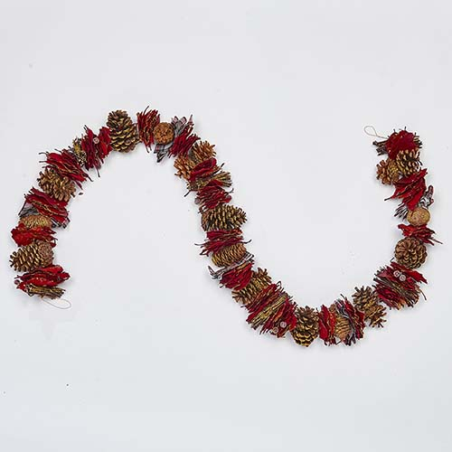 """66"""" MIXED CONES, RED BAY LEAF, RIBBON TWIGS BERRIES GARLAND"""