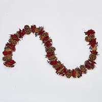 "66"" MIXED CONES, RED BAY LEAF, RIBBON TWIGS BERRIES GARLAND"