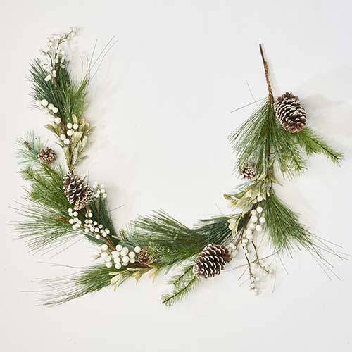 """60"""" White Berries Cone Needle Garland"""