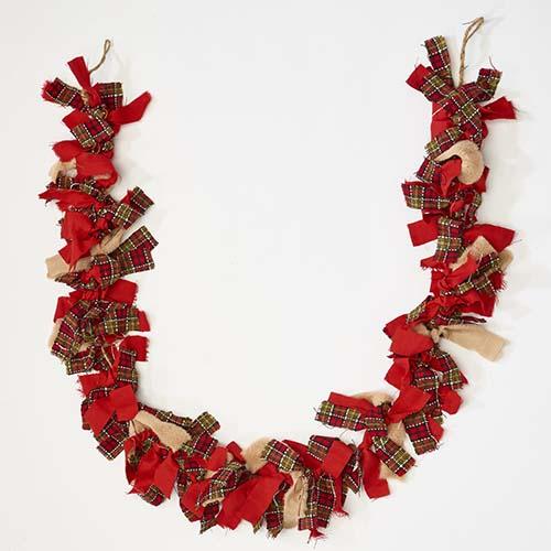 """71"""" Christmas Rag Tye Garland"""