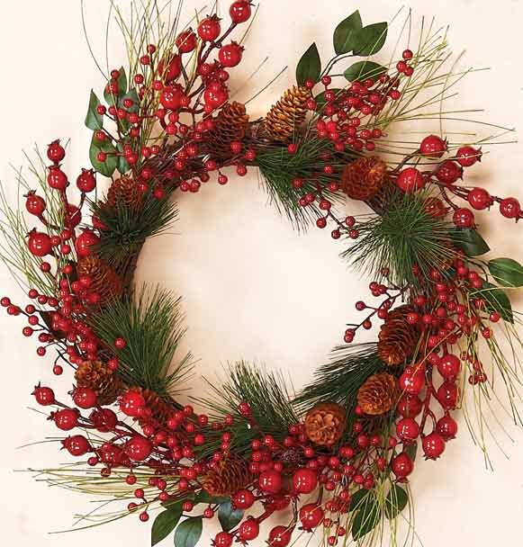 "20"" Mixed Weatherproof Berry Wreath"