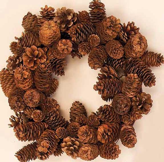 """15"""" Cone Wreath On Twig Base"""