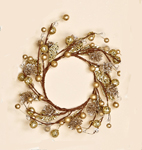"4.5"" Beaded Glitter Gold Berry Candle Ring"