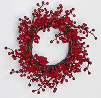 "11"" MATT FINISH BERRY WREATH ON TWIG BASE"