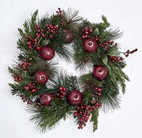 "21"" POMEGRANATE & BERRY WREATH ON NATURAL TWIG BASE"
