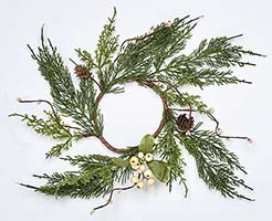 "4.5"" PINE WHITE BERRY & LEAF CANDLE RING"