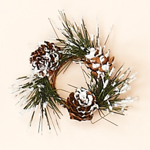 """1.25"""" Snowy Pine & Cone Candle Ring"""