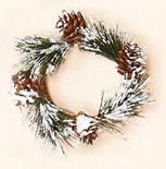 "2.25"" Snowy PIne & Cone Candle Ring"