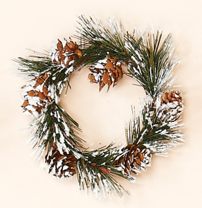 """3.25"""" Snowy Pine & Cone Candle Ring"""
