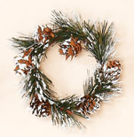 "3.25"" Snowy Pine & Cone Candle Ring"
