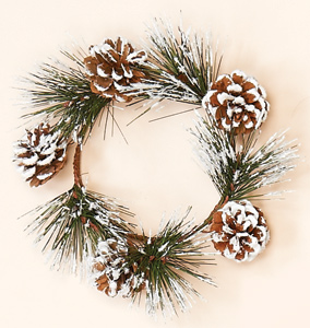 """4.25"""" Snowy Pine & Cone Candle Ring"""