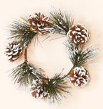 "4.25"" Snowy Pine & Cone Candle Ring"