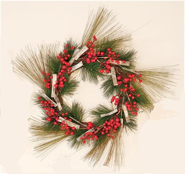 "18"" Pine Wreath with Berry & Birch Bark CLOSE OUT"