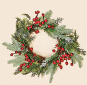 "20"" Weatherproof Mixed Snowy Pine Wreath with Berries CLOSE OUT"