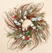 "24"" Snowy Twig Wreath With Stars-CLOSEOUT"