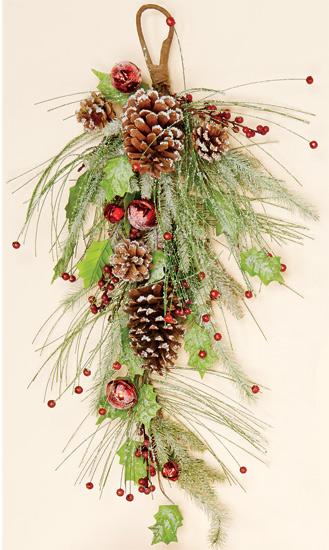 """28"""" Icy Teardrop with Berries, Pine Cones & Bells"""