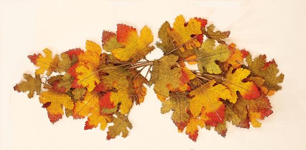 "31"" Fall Burlap Leaf Swag - CLOSE OUT"