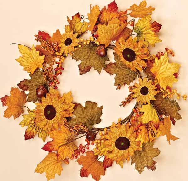 "20"" Mixed Burlap Sunflower Berry Wreath"