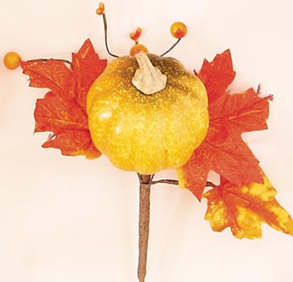 """10"""" Weatherproof Pumpkin Leaves Pick"""