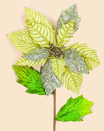 """27"""" Gold Poinsettia Stem With Glitter"""