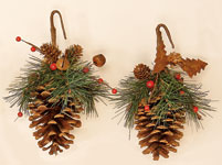 "9"" Pine Cone Ornament With Rusty Snowflake, Bell & Berry"