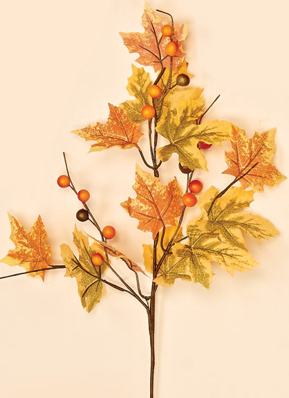 """18"""" Fall Maple Leaf & Berry Spray"""