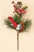 "13"" Snowy WP Berry, Pine Cone & Pine Spray"