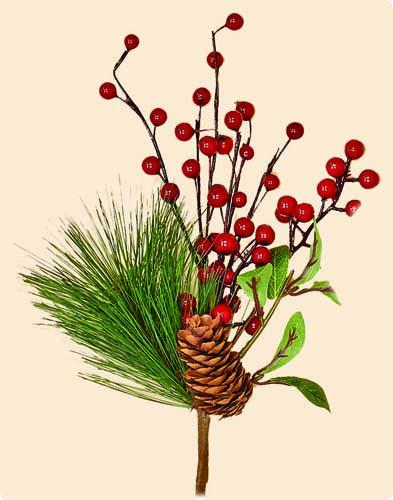 """12"""" WP Berry, Pine Cone & Pine Pick"""