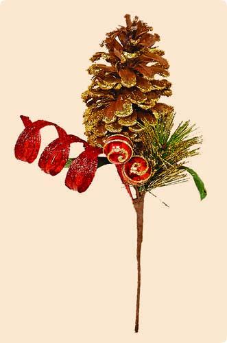 11' Glitter Red Swirl Ball Pine, Cone Pick - CLOSE OUT