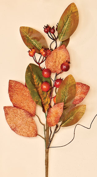"20"" Red Berry & Leaves Spray"