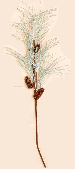 "38"" Snowy Pine Spray w/ Cones"