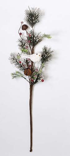 """32"""" ICED PINE NEEDLE SPRAY W/DOVE, BELL & BERRY-CLOSEOUT"""