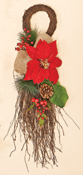 "26"" Poinsettia Teardrop With WP Berries & Burlap"