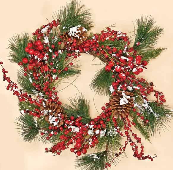 "22"" Snowy WP Berries, Pine Cones & Pine Wreath"