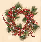 "22"" Snowy WP Berries, Pine Cones & Pine Wreath"