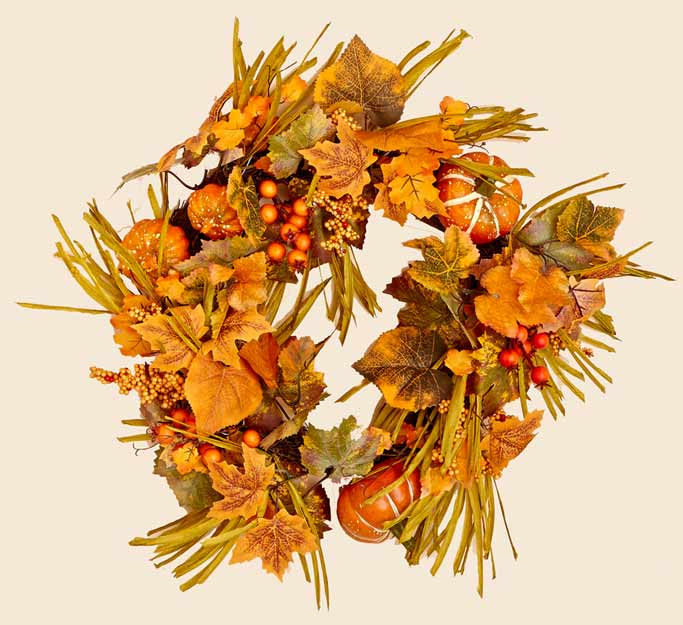 "20"" Fall Wreath w/ Berries, Pumpkins & Leaves- CLOSE OUT"